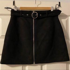 SUPER CUTE Black Faux Suede Skirt w/ Belt